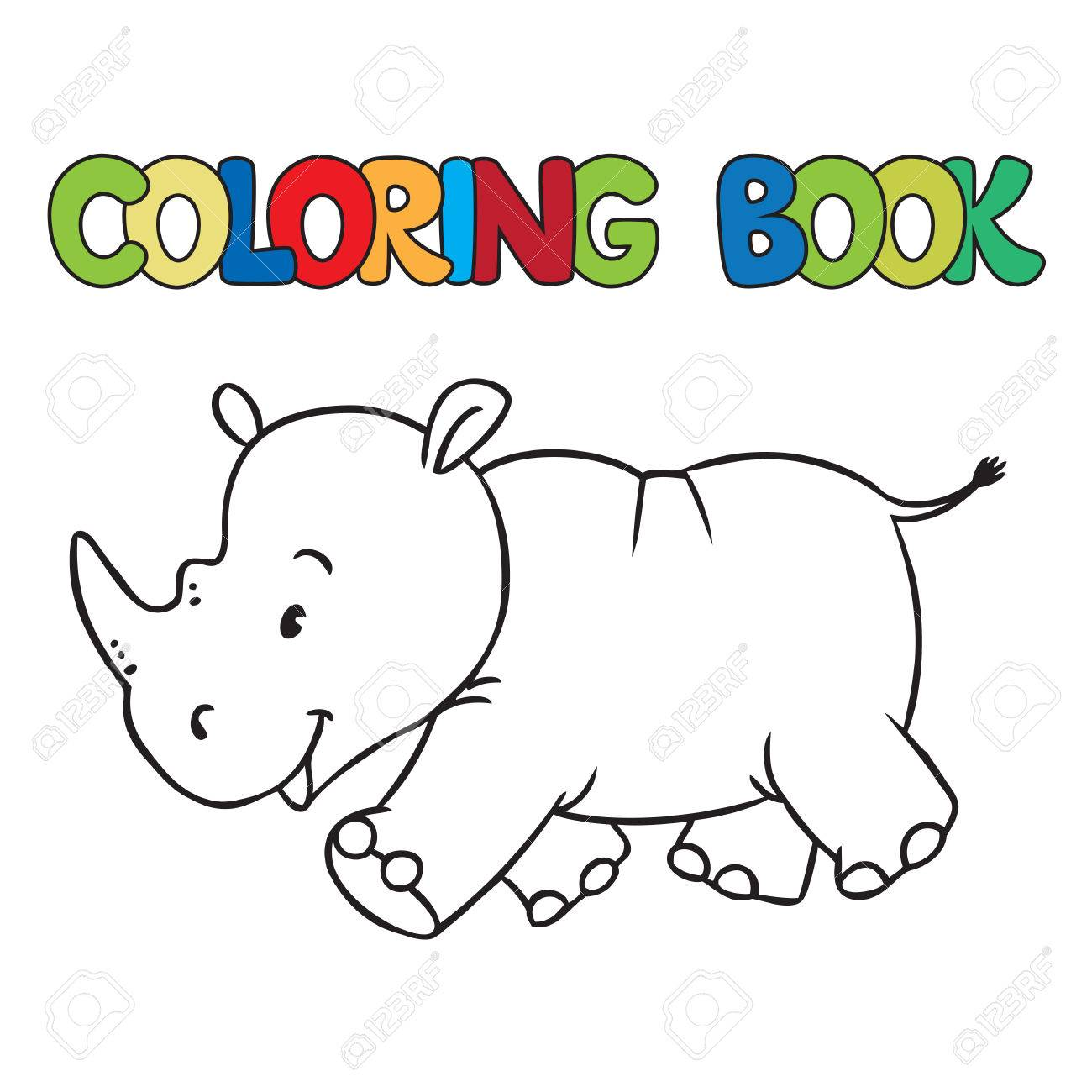 Coloring Book Or Coloring Picture Of Little Funny Rhino Royalty Free ...