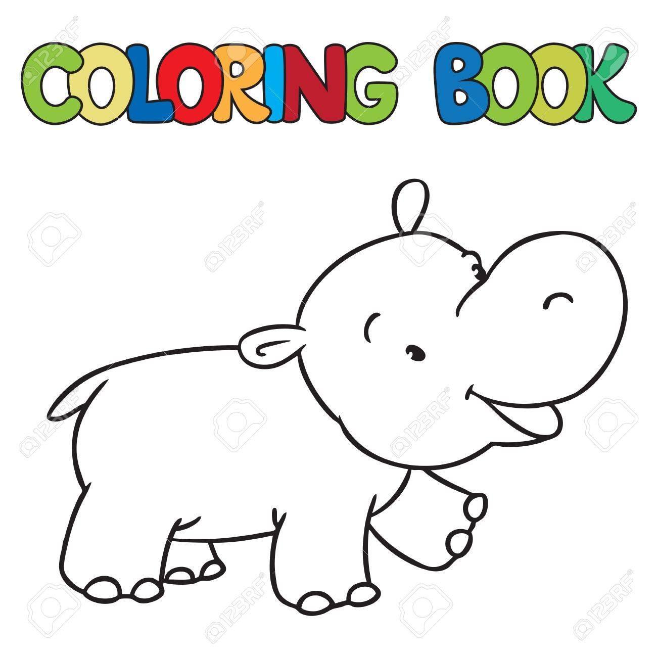 Libro Para Colorear O Una Imagen Para Colorear De Pequeño Hipopótamo Divertido O Un Hipopótamo