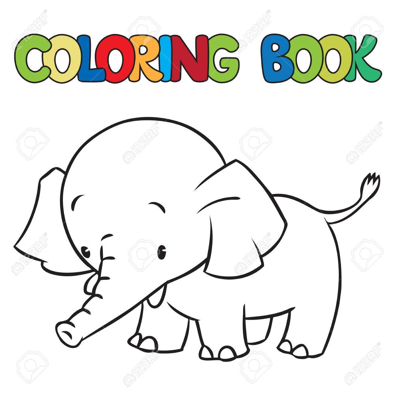 Libro Para Colorear O Una Imagen Para Colorear De Pequeño Elefante ...