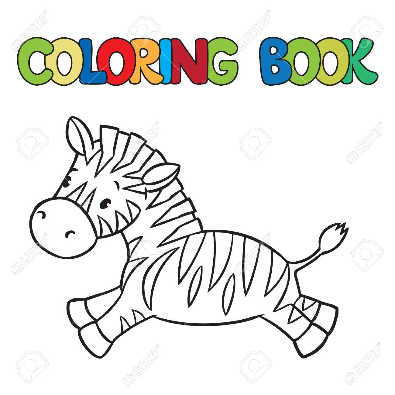 Malbuch Oder Ausmalbild Kleine Lustige Zebra Läuft Auf Savanne