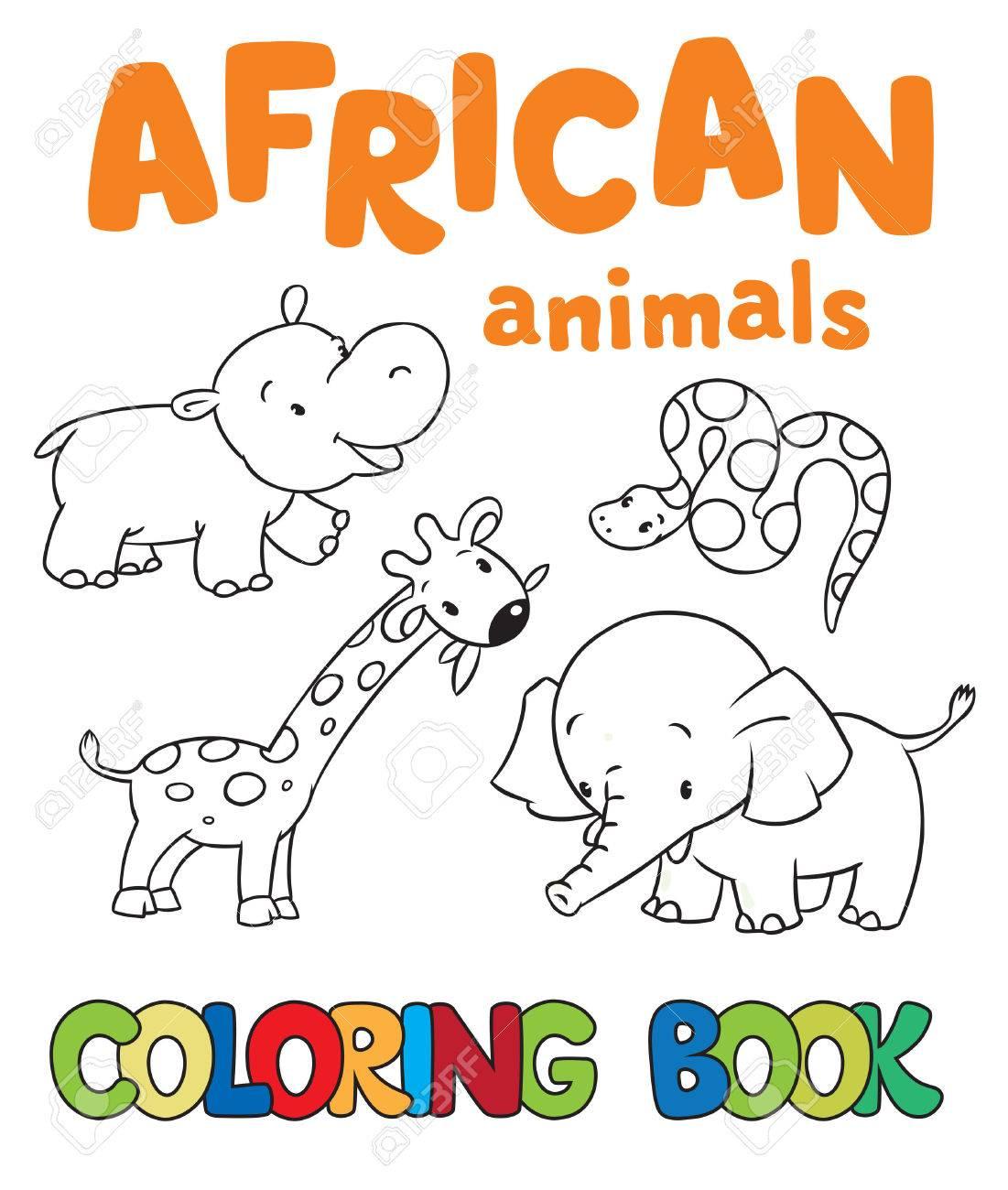 Libro De Colorante O Una Imagen Para Colorear Con Animales Africanos ...
