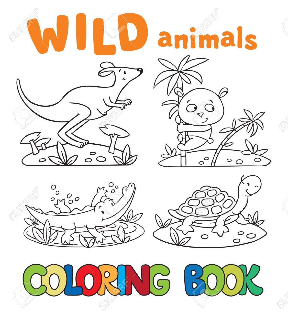 Malbuch Oder Ausmalbild Mit Wilden Tieren Krokodil Panda Känguru