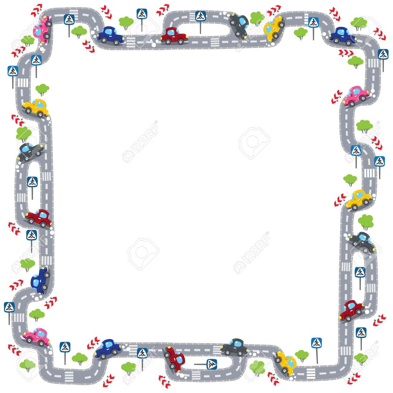 Lustige Rahmen Oder Rand Von Straßen, Grasflächen Und Autos ...