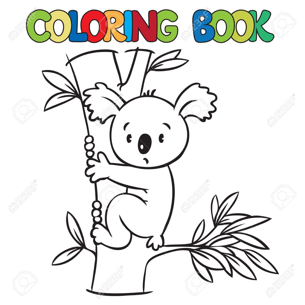 Malbuch Oder Ausmalbild Mit Lustigen Koala Bär Auf Eucaliptus Baum
