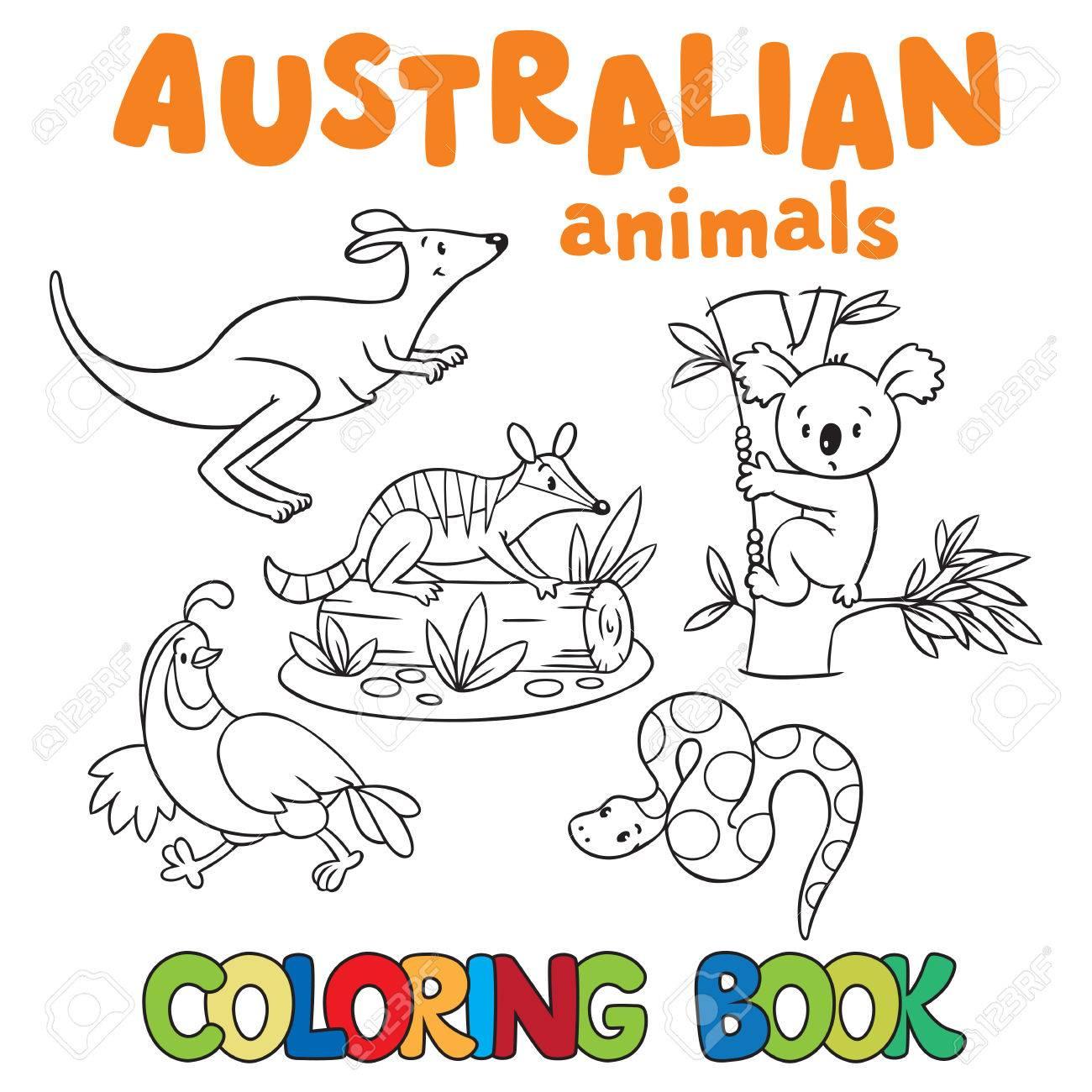 Kleurplaten Dieren In Het Wild.Kleurboek Of Kleurplaat Met Wilde Dieren Tijger Panda Numbat