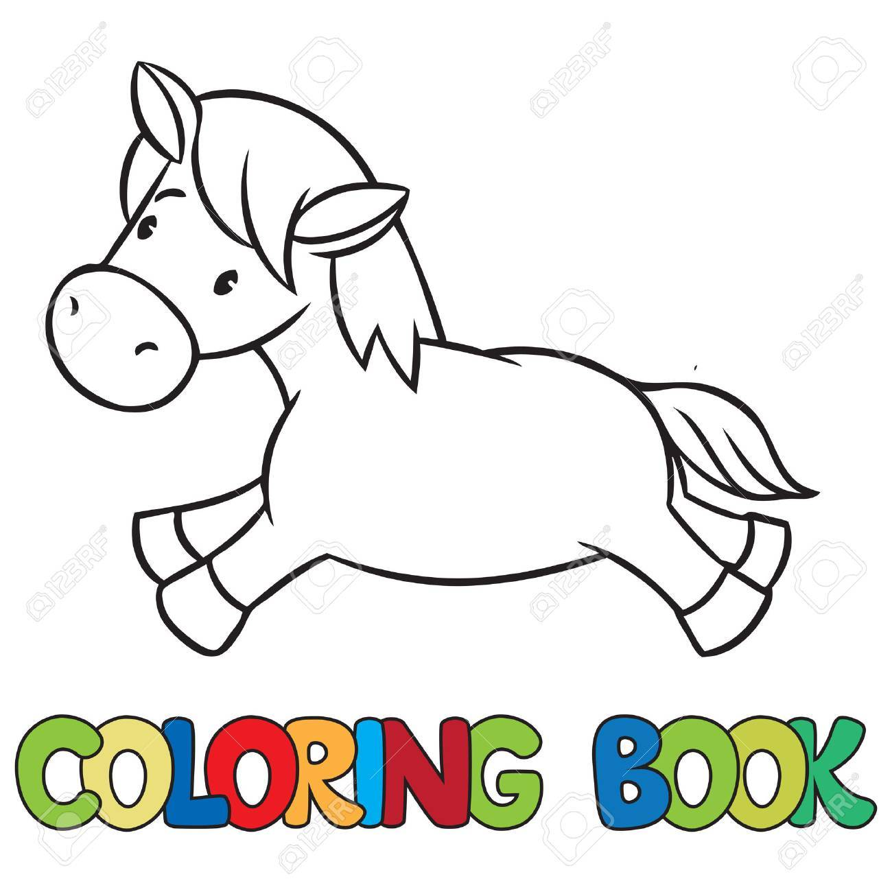 coloring book of little funny little horse or pony royalty free