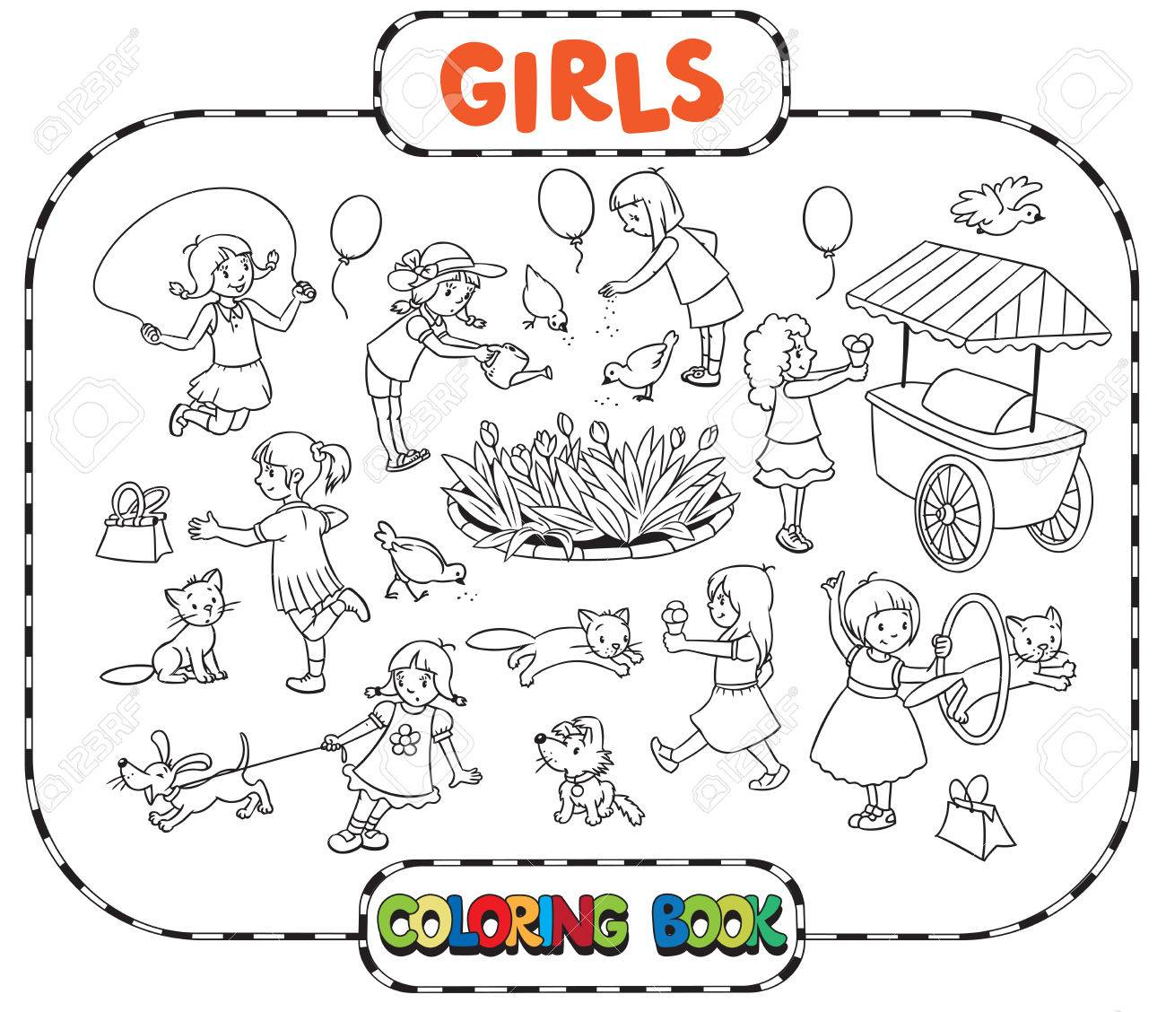 Big Coloring Book Or Coloring Picture Set Of Small Girls Playing ...