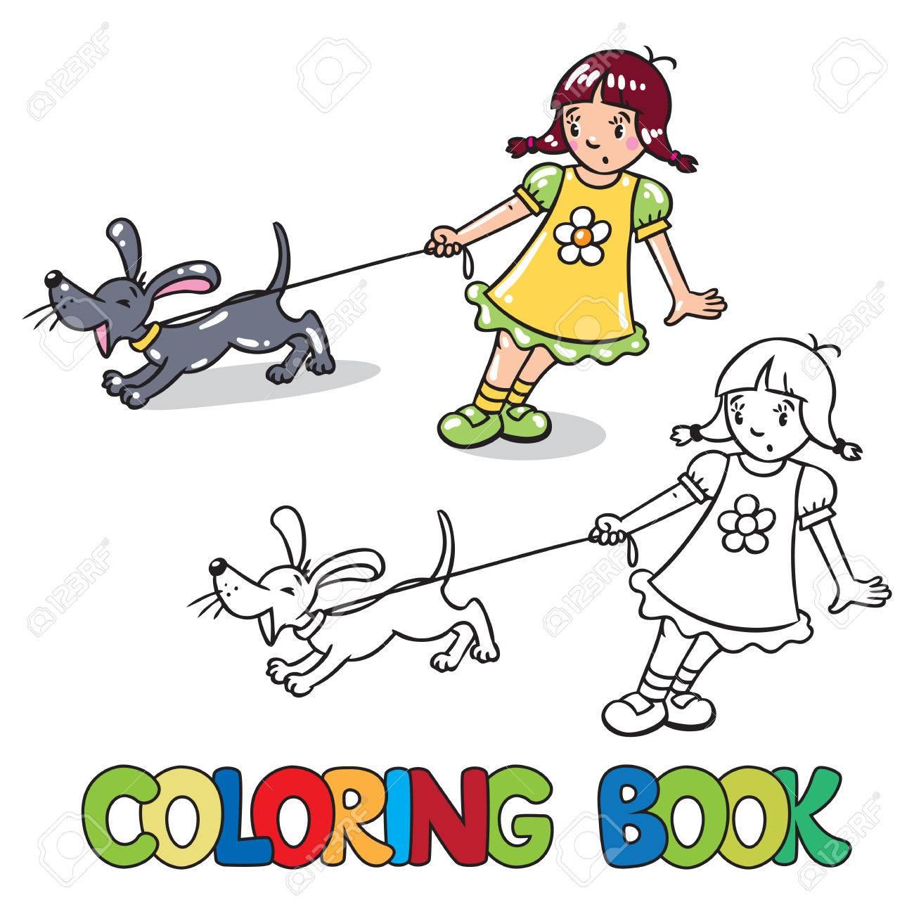 Libro Para Colorear O Imagen Coloración De La Muchacha Que Sostiene El Perro Ladrando Correa O Cachorro