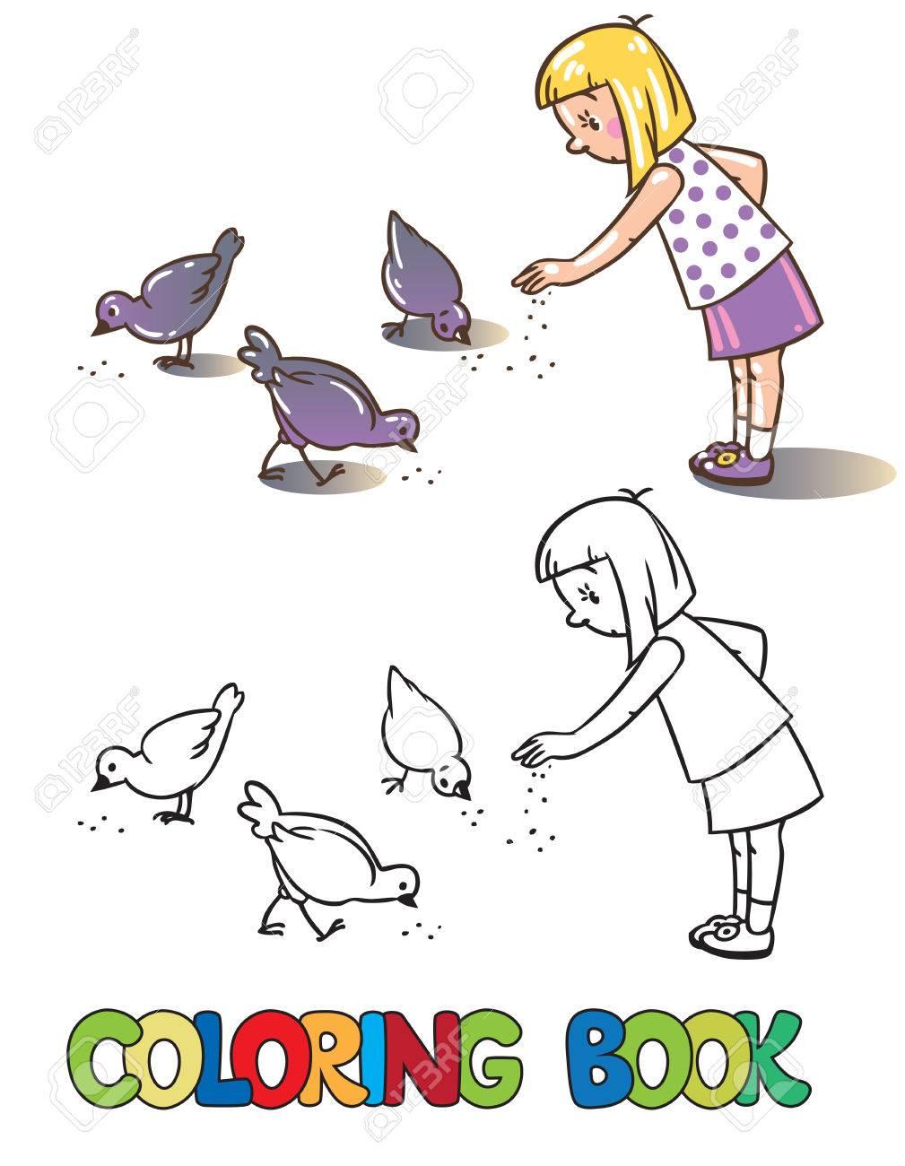 Libro De Colorante O La Imagen De Niña Para Colorear Alimentar ...