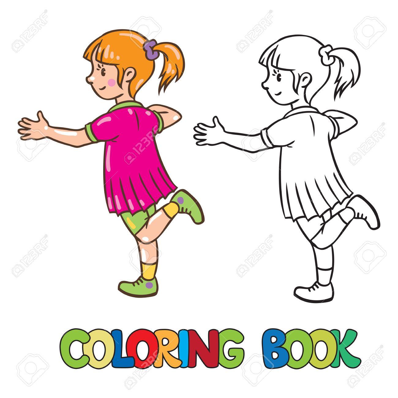 Libro Para Colorear O Un Color De Imagen De La Pequeña Niña Saltando