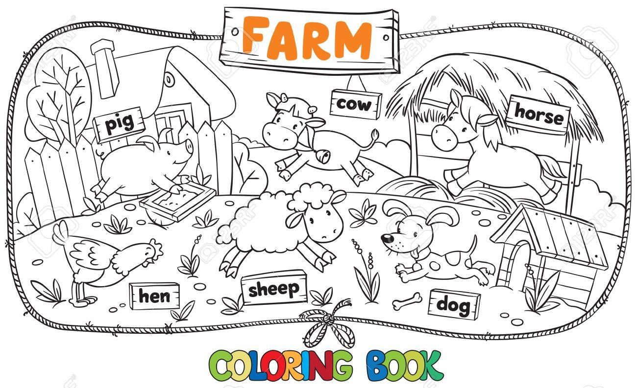 Coloriage Bebe Vache.Grand Livre De Coloriage Avec Des Bebes Animaux De La Ferme Drole Moutons Et Porcs Poulet Et Le Chien Le Cheval Et La Vache Avec Tables De Planches