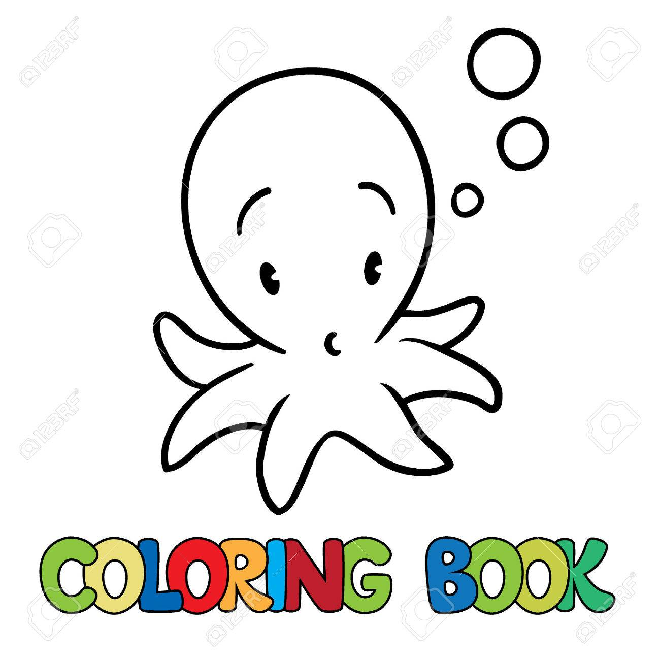 Coloring Book Or Coloring Picture Of Funny Little Octopus Royalty ...