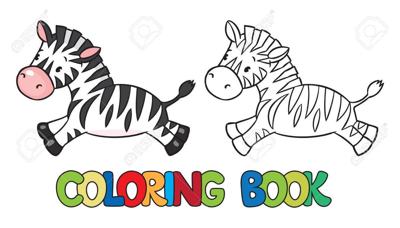 Libro Para Colorear O Imagen Coloración De Cebra Poco Gracioso ...