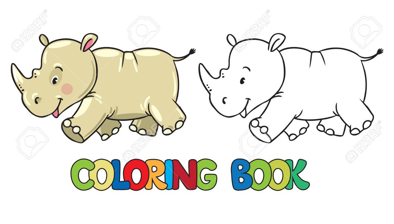Coloring Book Or Coloring Picture Of Little Funny Rhino, Running ...