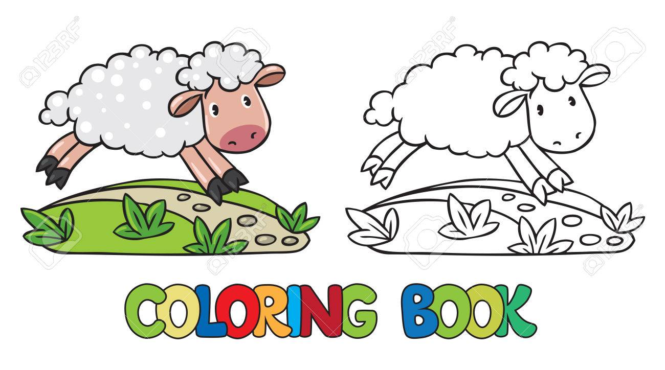 Coloring Book Or Coloring Picture Of Little Funny Sheep Running General Jumping Coloring Books