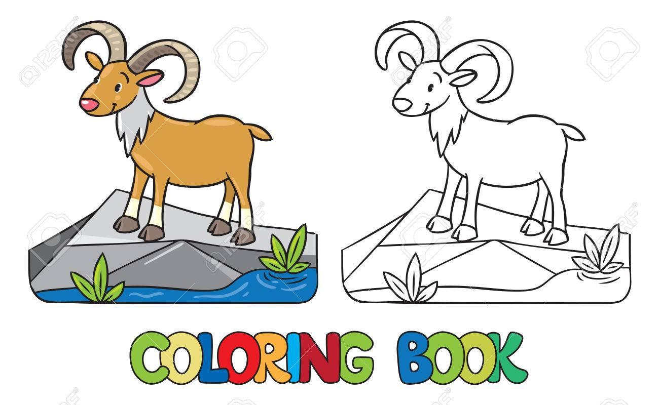 Libro Para Colorear O Imagen Coloración De Urial Salvaje Divertida O ...