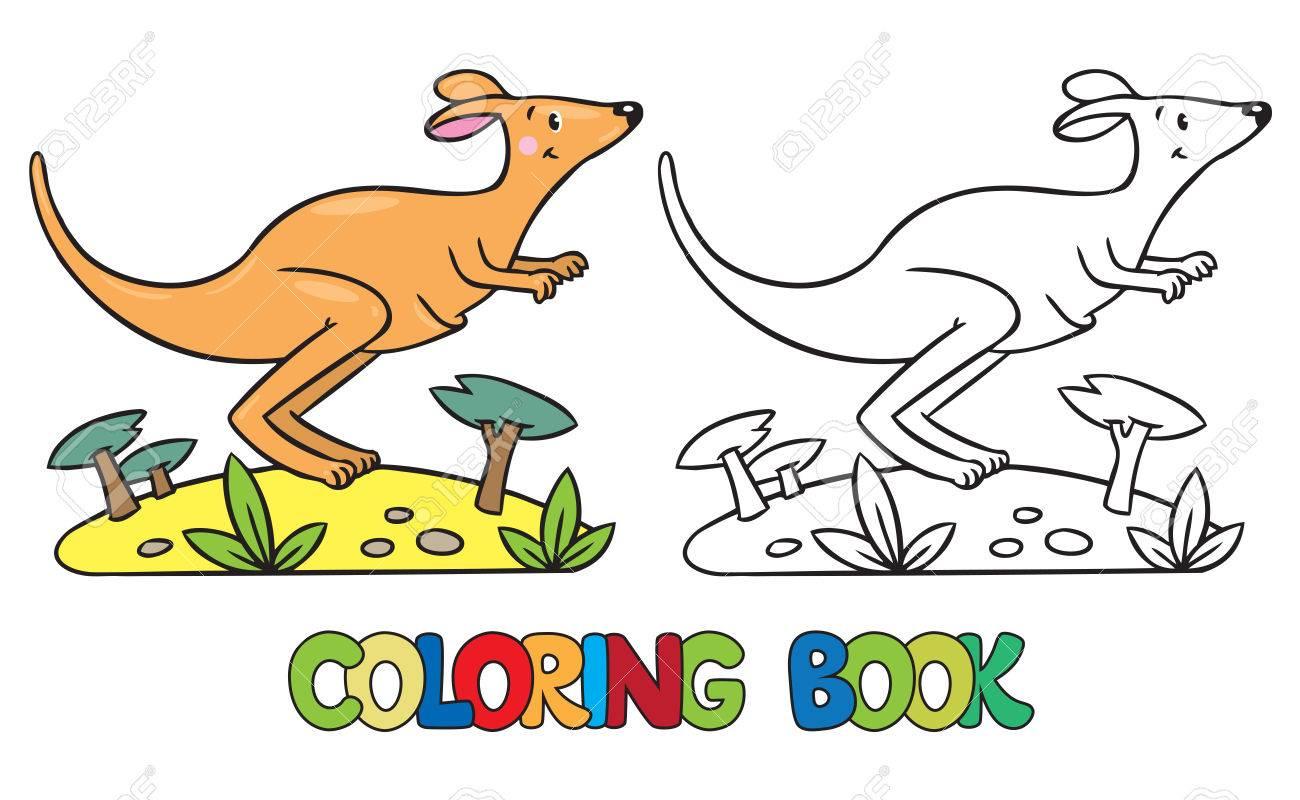 Malbuch Oder Ausmalbild Kleine Lustige Springen Känguru, Durch Die ...