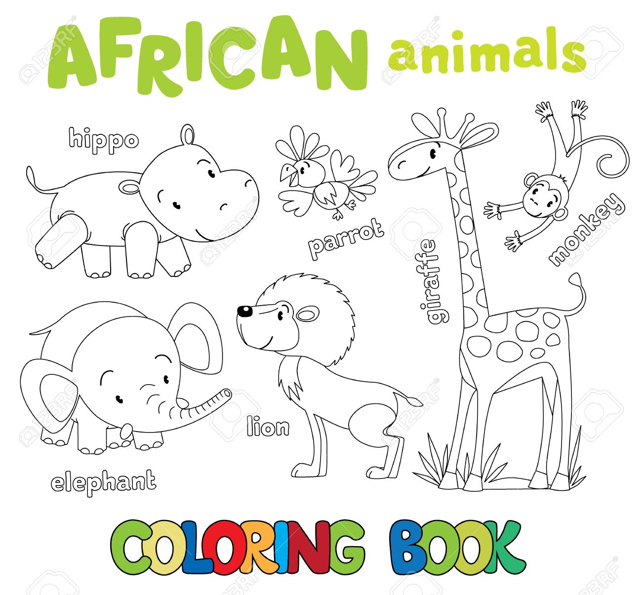 Coloring Book Or Picture Set Of Funny Cute African Animals Hippo And Parrot