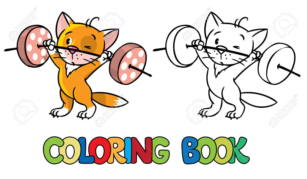 Coloring Book Or Picture Of Funny Red Kitten Athlete With White Paws Lifts The