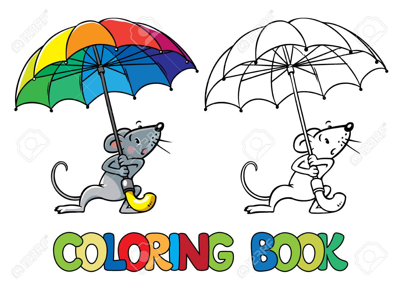 Coloring Book Or Coloring Picture Of Mouse With Rainbow-colored ...