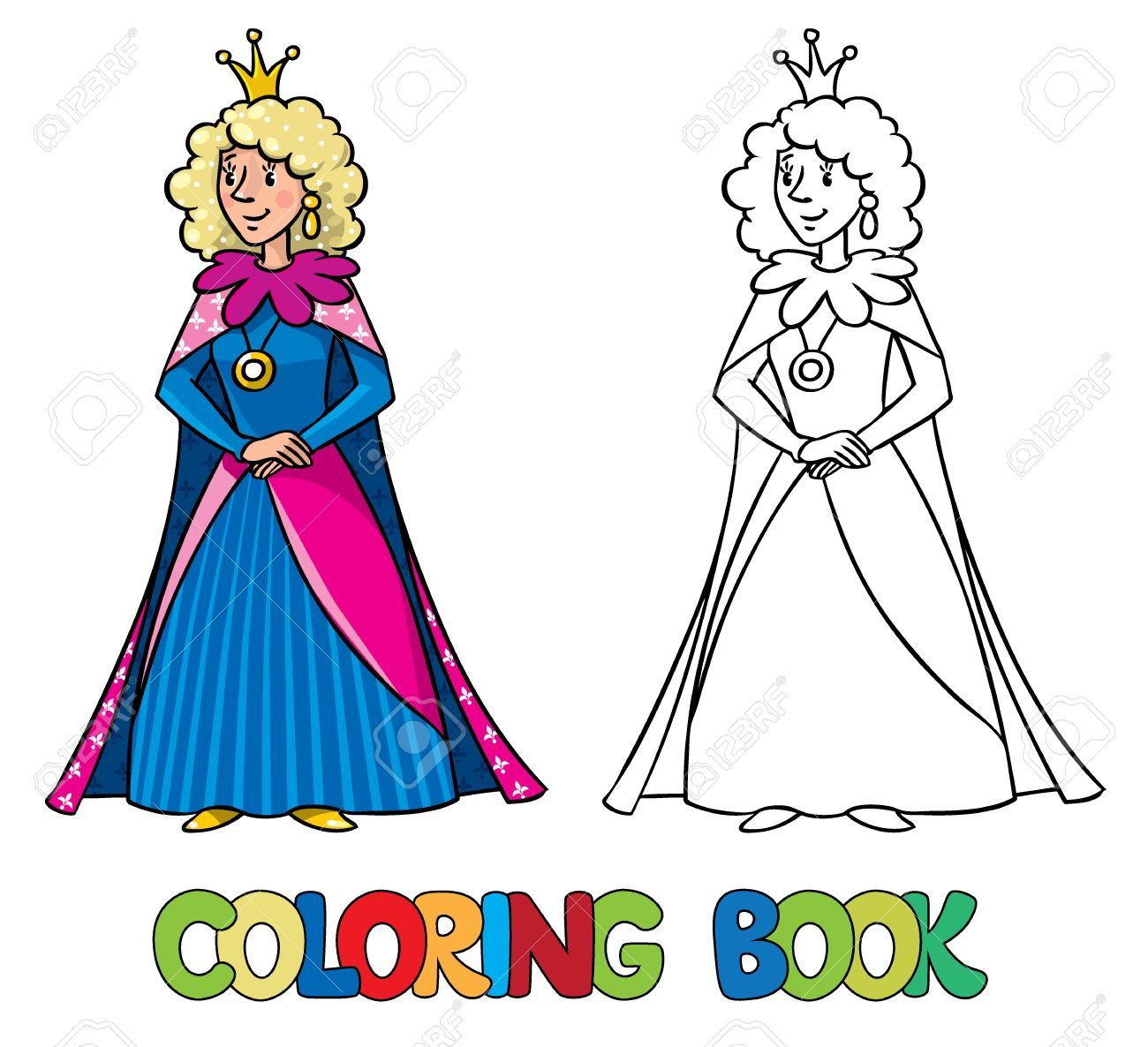 Coloring book princess crowns - Coloring Book Or Coloring Picture Of Beautiful Queen Or Princess In Medieval Dress The Crown