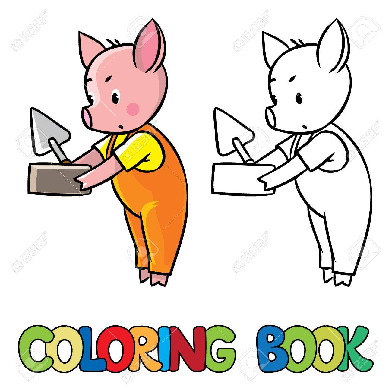 Libro Para Colorear O Imagen Coloración De Pequeño Cochinillo En ...