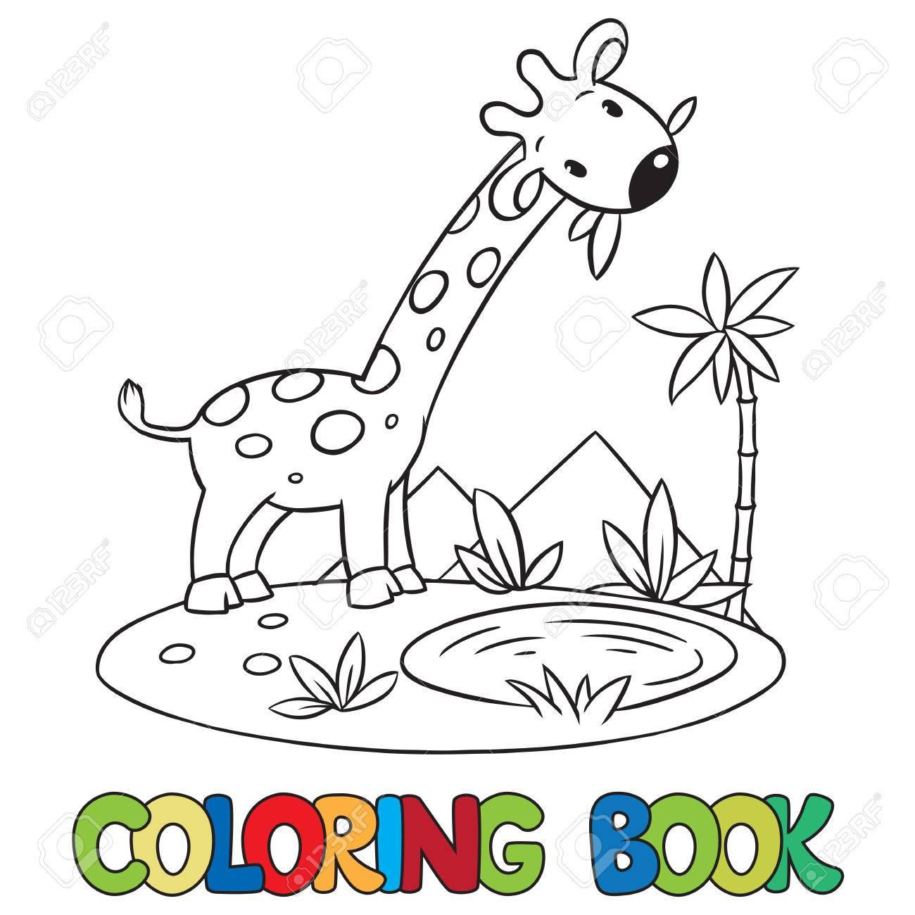 Libro Para Colorear O Una Imagen Para Colorear De Pequeña Jirafa Divertida De Comer Hojas Verdes