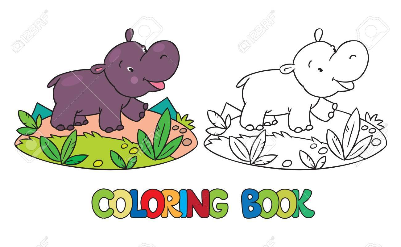 Coloring Book Or Coloring Picture Of Little Funny Hippo Or ...
