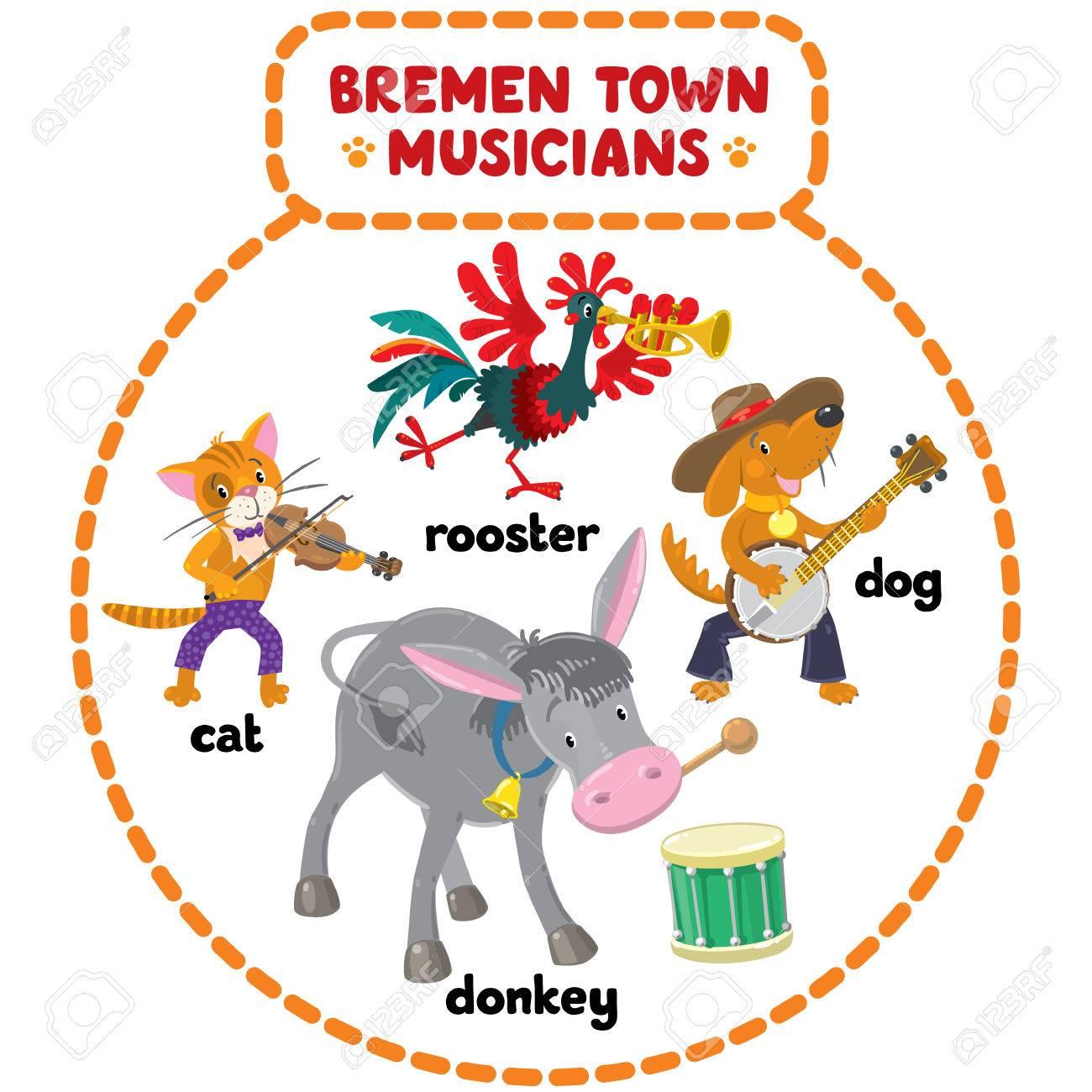 面白いブレーメンの音楽隊猫犬鶏ロバの漫画や子供たちのイラスト
