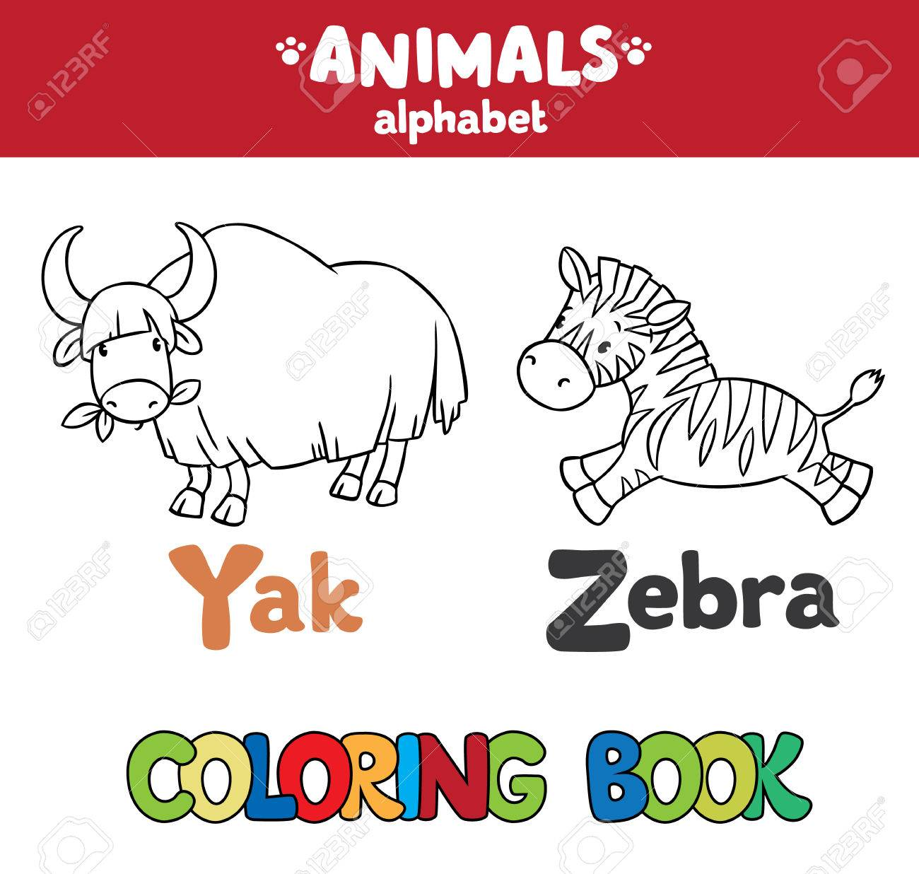 Malbuch Oder Färbende Bild Von Funny Yak Und Zebra. Tiere Zoo ...