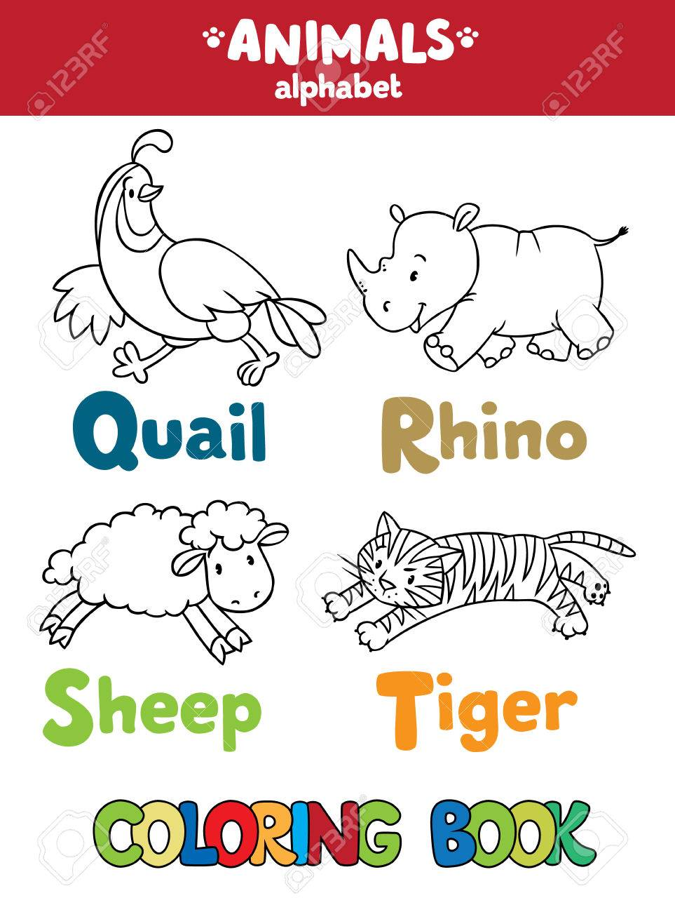 Coloring Book Or Coloring Picture Of Funny Quail Rhino Sheep
