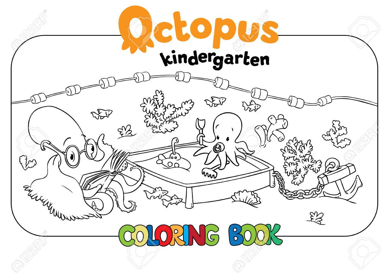 Big Coloring Book Set With Cheerful Funny Small Octopuses In Kindergarten On The Seabed