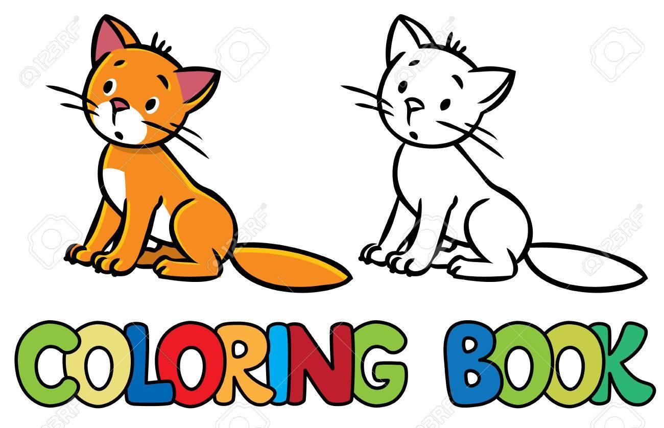 Libro Para Colorear O Dibujo Para Colorear De Sentarse Pequeño Gato ...