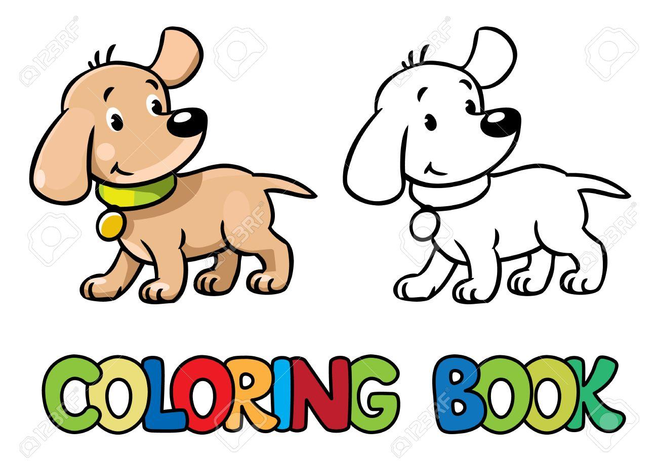 Libro Para Colorear O Dibujo Para Colorear De Pequeño Perro O ...