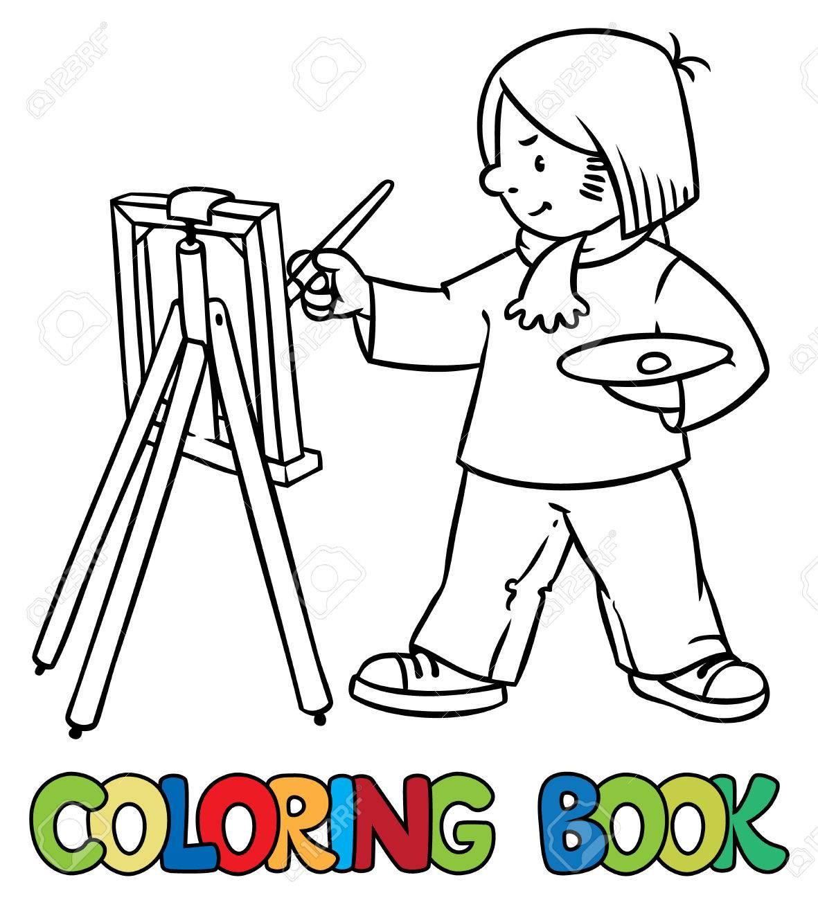 Coloriage Ou Livre De Coloriage De Lartiste Drôle Ou Peintre Avec