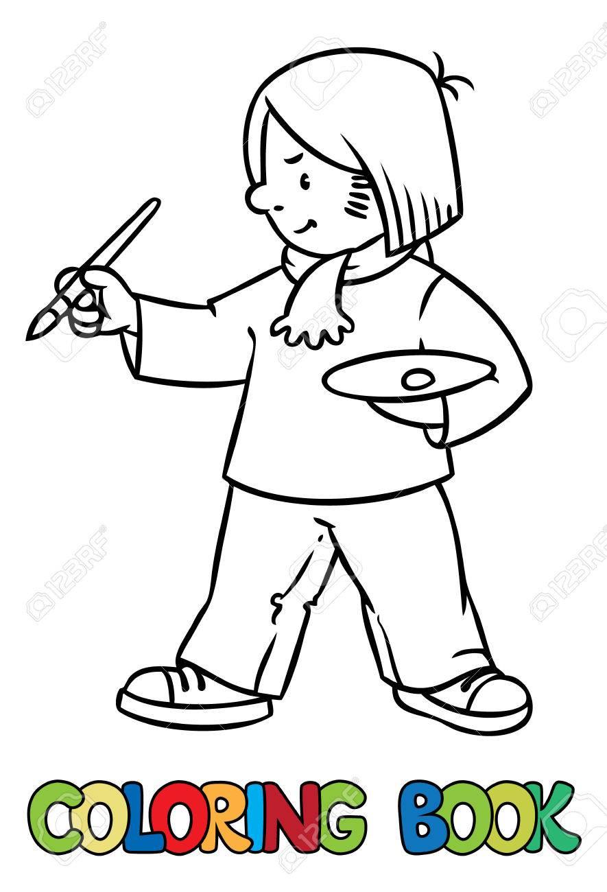 Coloriage Ou Livre De Coloriage De Lartiste Drôle Ou Peintre Avec Pinceau Et Palette Série Profession Enfants Illustration Vectorielle