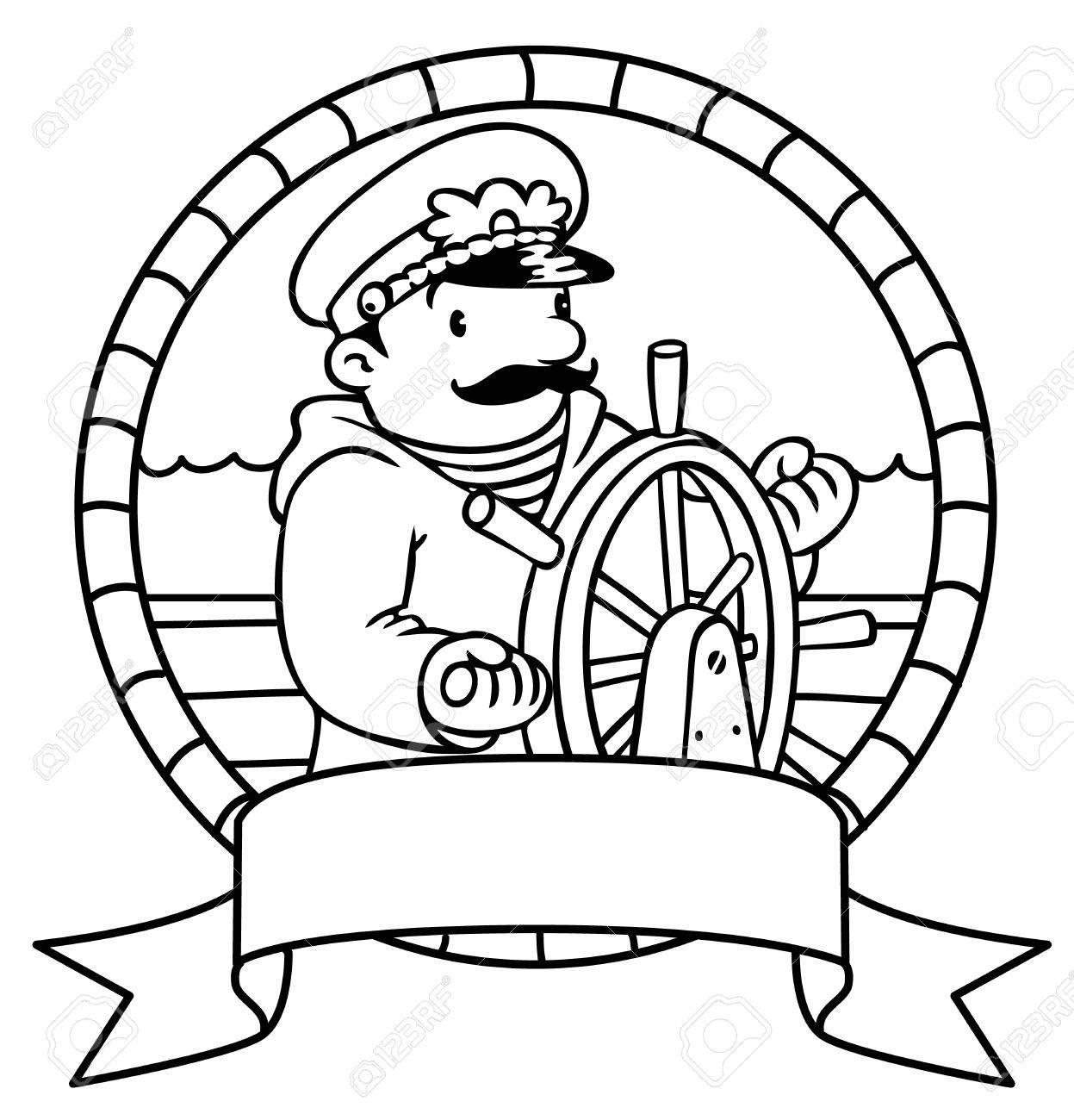 Colorear La Imagen O Colorear Libro O Emblema De Capitán Gracioso O ...
