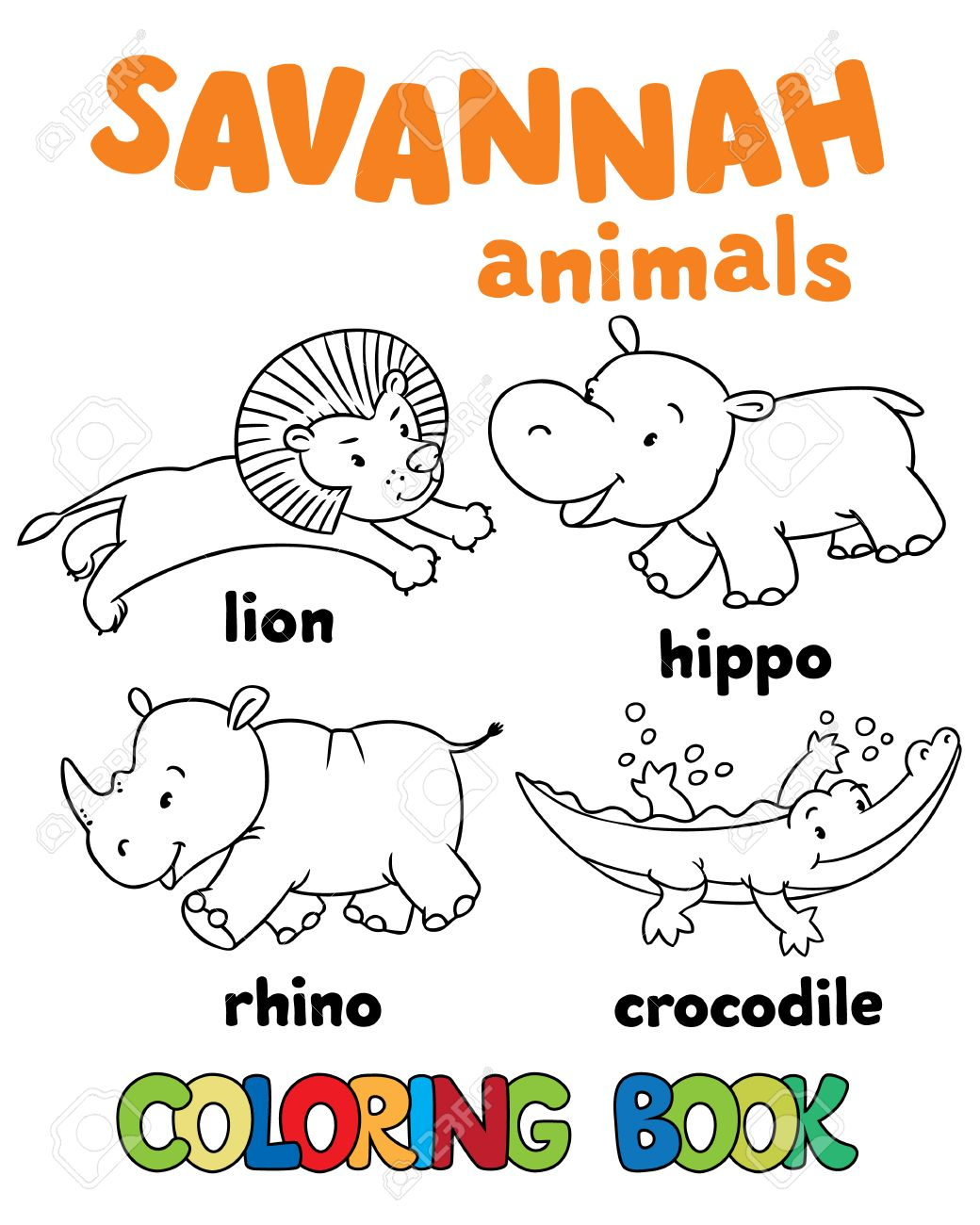 Set Of Funny Lion Hippo Rhino And Crocodile Coloring Book Or Pictures
