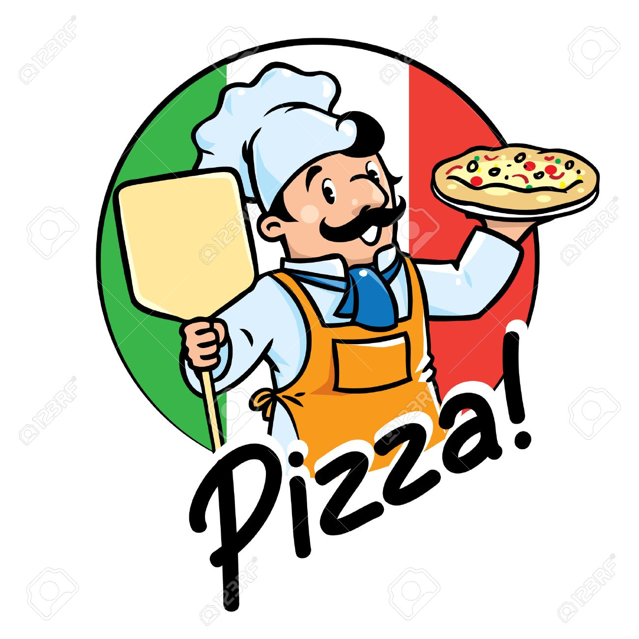 Emblem of funny cook or chef or baker with pizza on background colors of the Italian flag. Children vector illustration. - 54716031