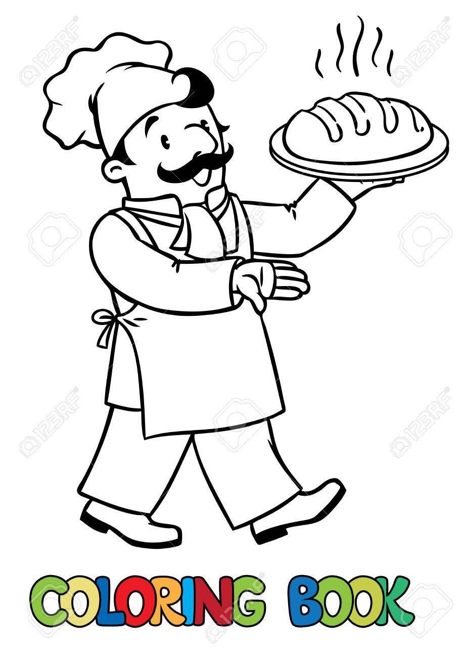 étonnant  Mot-Clé Coloriage ou livre de coloriage de cuisinier drôle ou chef cuisinier ou  boulanger avec du pain. Série Profession. Enfants illustration vectorielle.