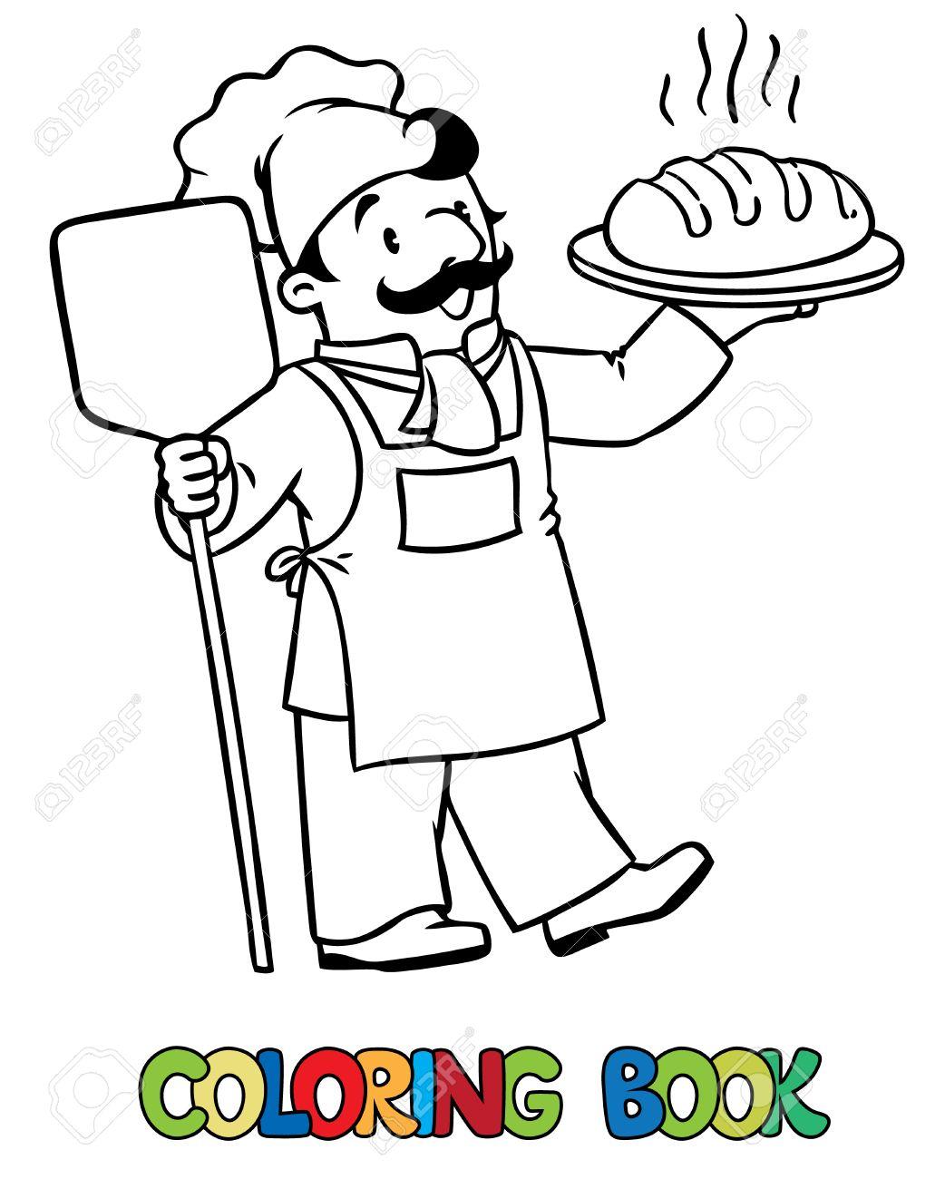 Coloriage Ou Livre De Coloriage De Cuisinier Drole Ou Chef Cuisinier Ou Boulanger Avec Du Pain Serie Profession Enfants Illustration Vectorielle Clip Art Libres De Droits Vecteurs Et Illustration Image 54880915