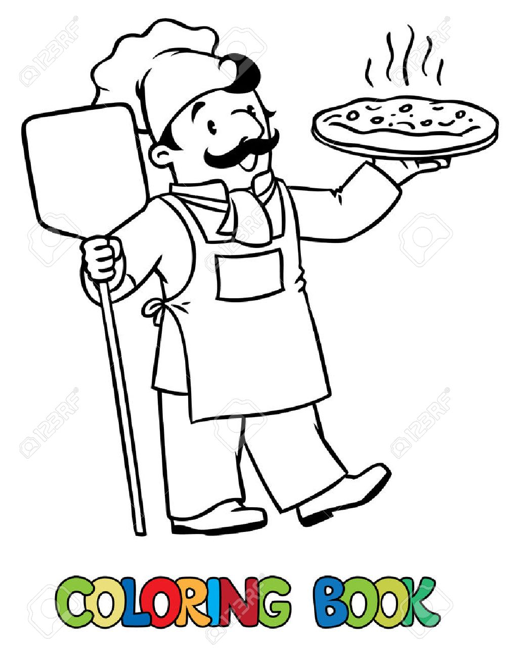 Coloring picture or coloring book of funny cook or chef or baker. Profession series. Children vector illustration. - 54880956