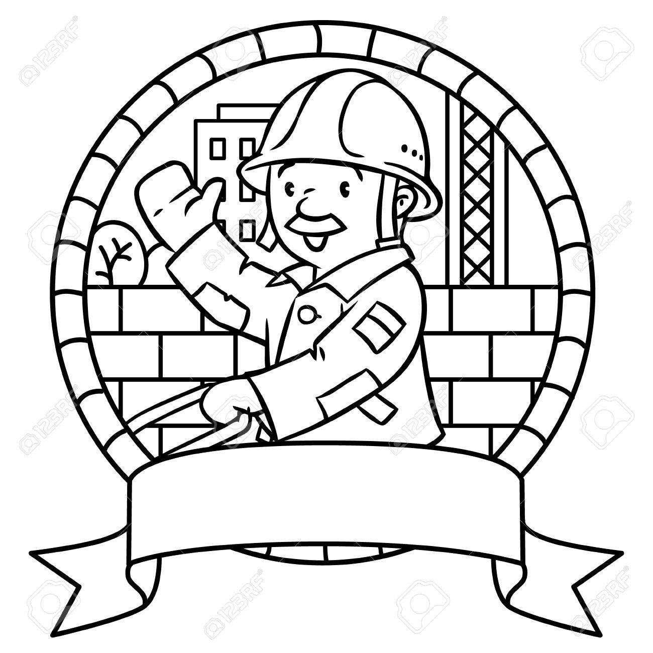 Coloriage ou livre de coloriage de travailleur de la construction drôle ou  le constructeur avec panier. Série Profession. vecteur Childrens ...