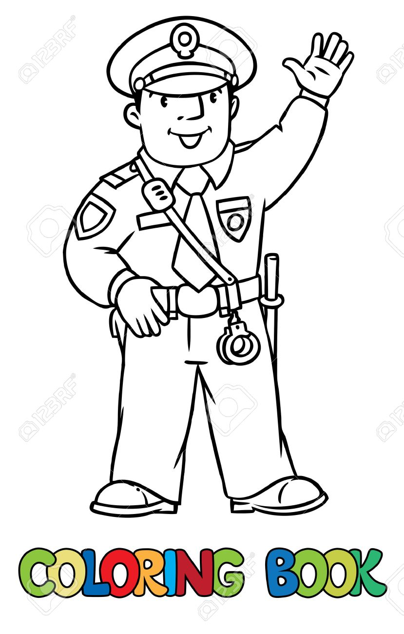 Coloring Picture Or Coloring Book Of Funny Policeman In Uniform ...