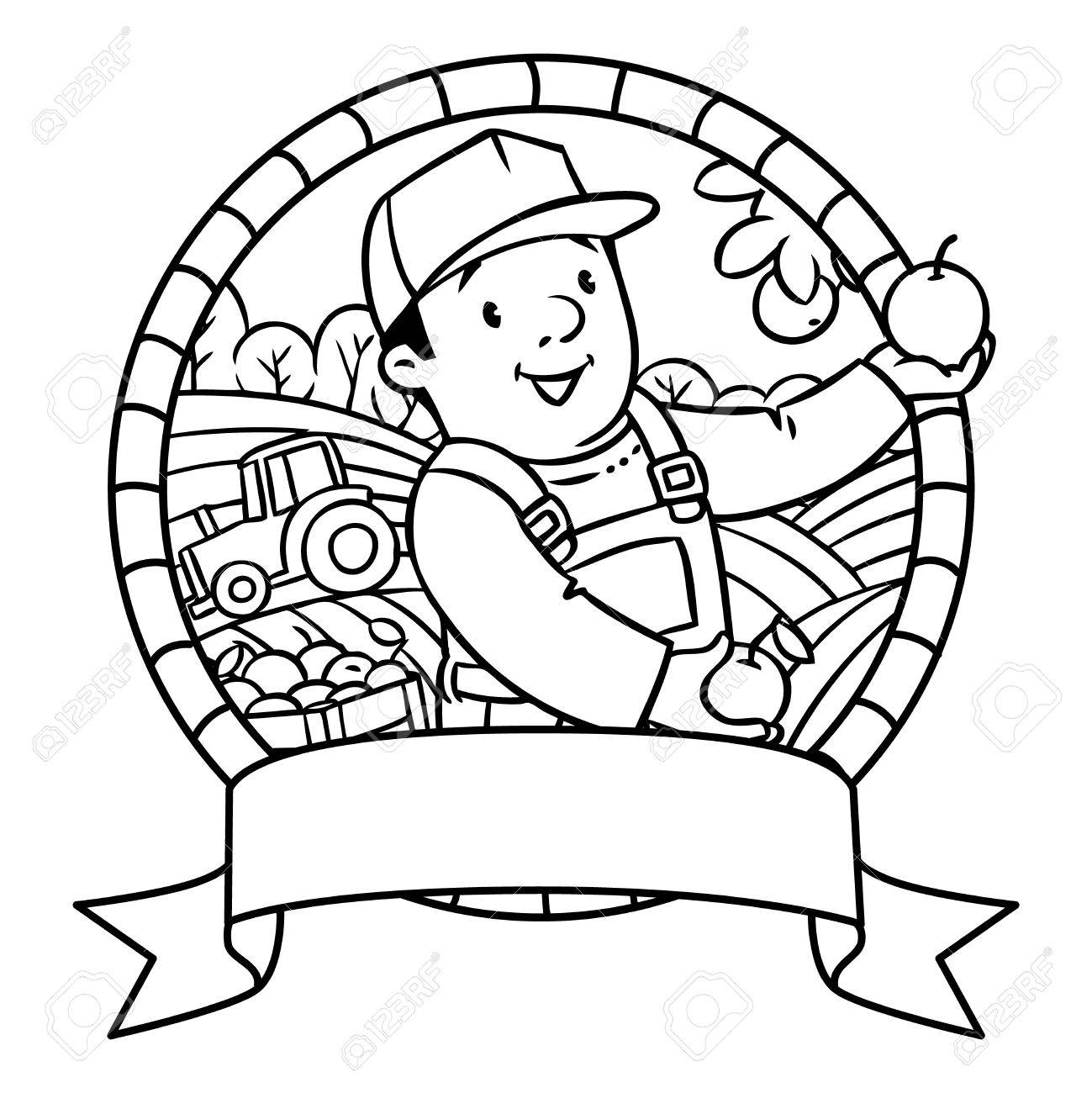 Coloring Book Or Emblem Of Funny Farmer Or Gardener In Overall ...