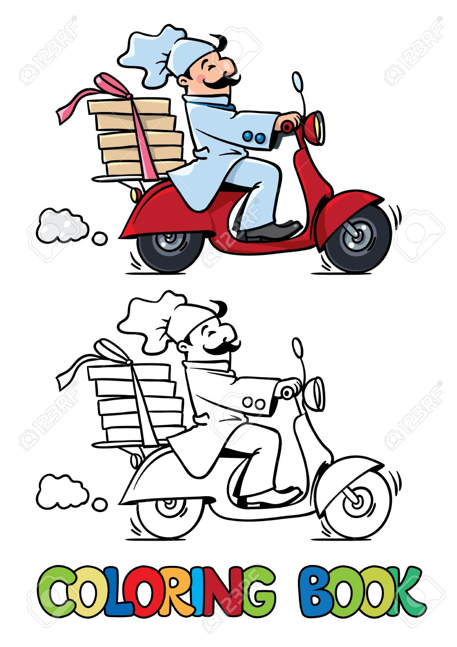 Coloring Book Of Funny Pizza Chef Or Baker Rides A Scooter Or ...