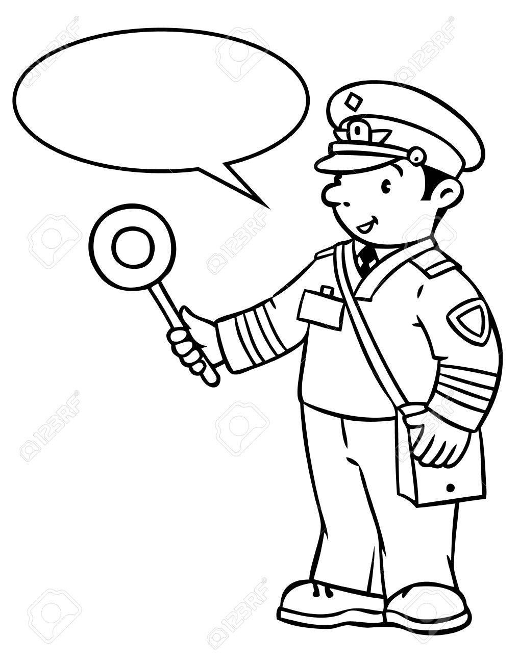Enfants illustration vectorielle Avec ballon pour le texte Coloriage image ou le livre  colorier de railroader dr´le en uniforme Série Profession