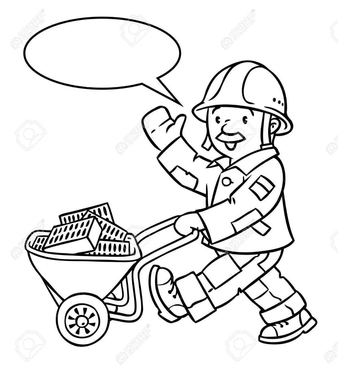 Coloring Picture Or Coloring Book Of Funny Construction Worker ...