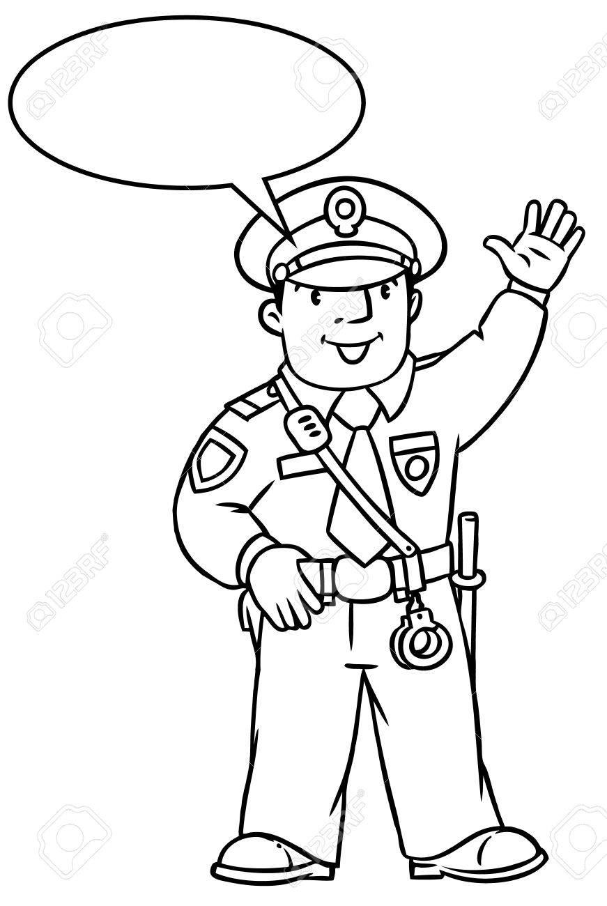 Colorear La Imagen O Libro De Colorante De Policía Divertido En ...