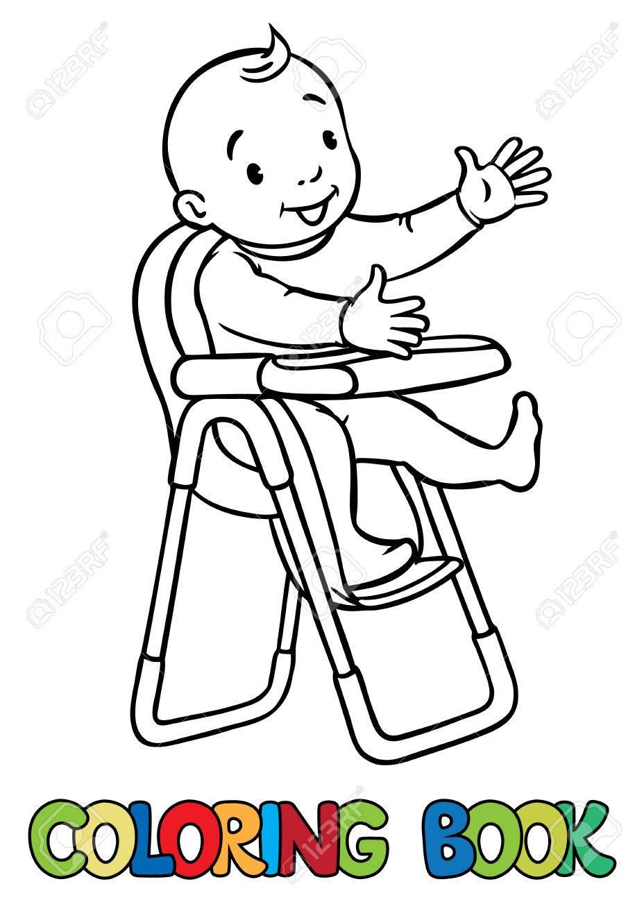 Garçon HauteEnfants Drôle Barboteuses Chaise Coloriage Vectorielle Sourire Ou Fille Dans En Livre Petit Illustration La Une De SMjGLVpqUz